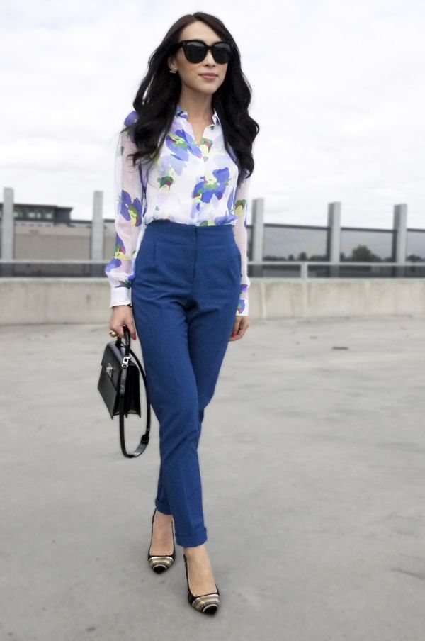 summer office wear inspiration --- blue and white floral blouse with amazing blue pants