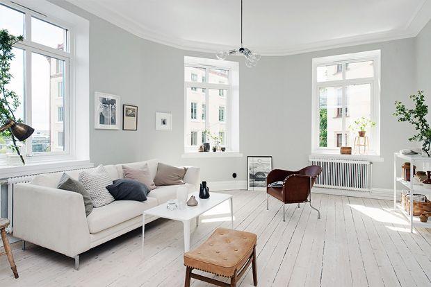scandinavian apartment light gray walls