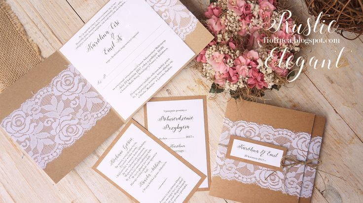 Rustic Elegant - zaproszenia eko z białą koronką i sznurkiem
