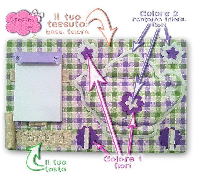 Pannello memo Teiera.L' articolo sará realizzato con il tuo tessuto! In oltre puoi scegliere il colore degli altri elementi che lo compongono.  Pannello memo da appendere, rigido, superficie in tessuto. Porta blocco,e porta penna in lino naturale,  due clip in legno per memo. Teiera in rilievo e applicazioni fiori in pannolenci.   Testo PERSONALIZZABILE! su lino naturale.