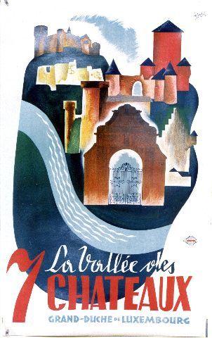 Probst - La Vallée des 7 Châteaux - circa 1950 Luxembourg vintage poster