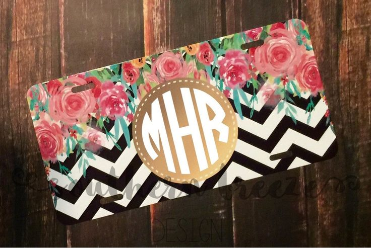 Monogram License Plate - Watercolor Roses Chevron #watercolor #roses #cartag www.southernbreezenc.com