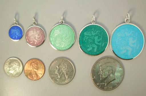 Check out http://gersonjewelers.com! Best prices for sterling silver St Christopher medals as charms and pendants in five sizes and fourteen colors. Every colored St Christopher medal perfect for engraving