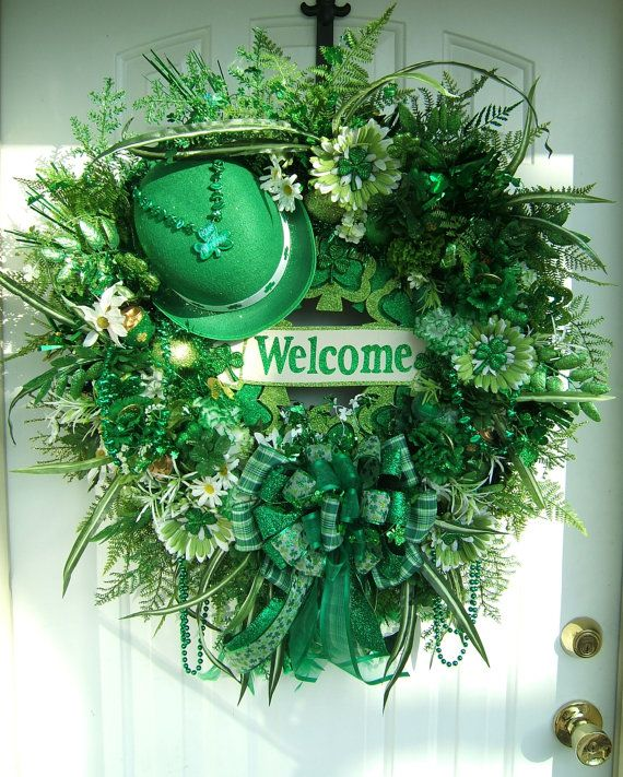 St Patrick's Day wreath, XXL, Door wreath, floral wreath, Irish decoration, Welcome wreath, no tutorial but you can figure out what to use and make it your own with your style