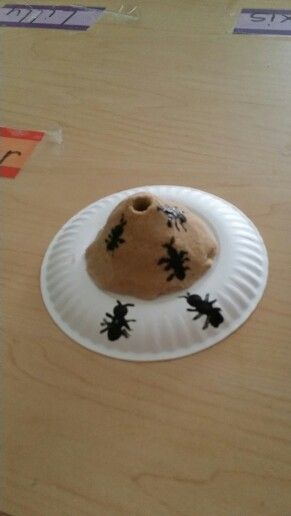 Ant hill craft for kids.     Mix sand and glue together put on a plate let children shape mound into an ant hill. Use a straw to make the hole.  I could not find plastic ants so we used the bottom of pencil in paint after sand dried for a couple days....