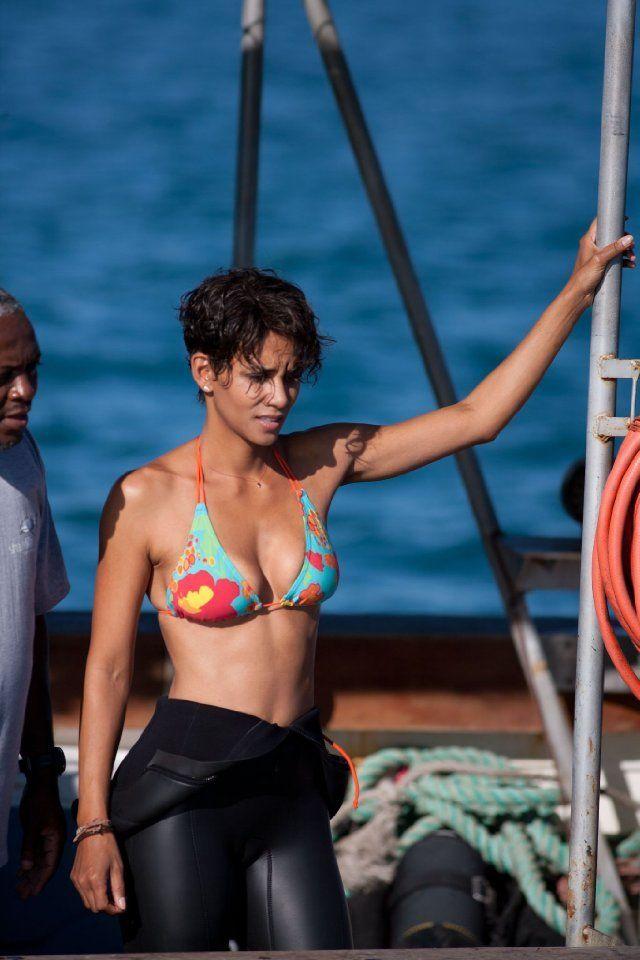 Halle Berry rocking a colorful bikini in Dark Tide