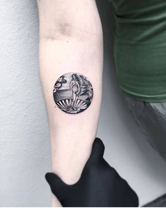 "Sandro Botticelli's ""The Birth of Venus"" inspired blackwork style tattoo on the right thigh."