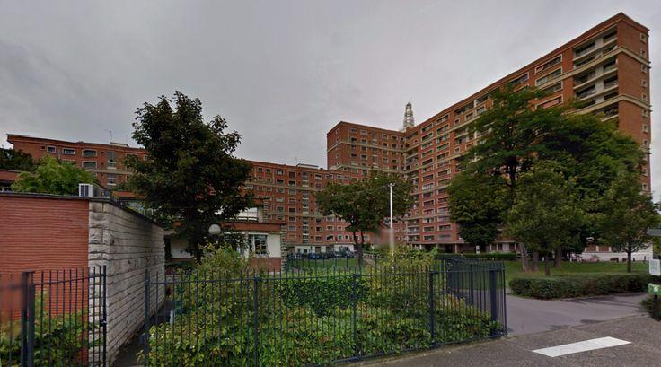 Cité Maurice Thorez - Collective housing - 1952-53 by H.Chevallier & R.Chevallier - #architecture #googlestreetview #googlemaps #googlestreet #france #ivrysurseine #brutalism #modernism