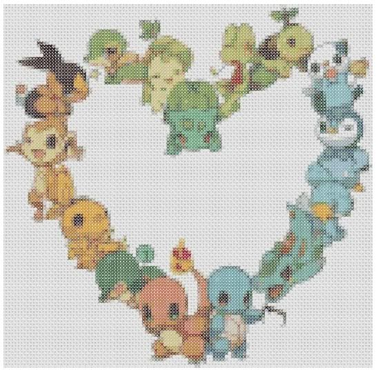 Pokemon Starter Love Cross Stitch. I need to do this for Kylee!!!