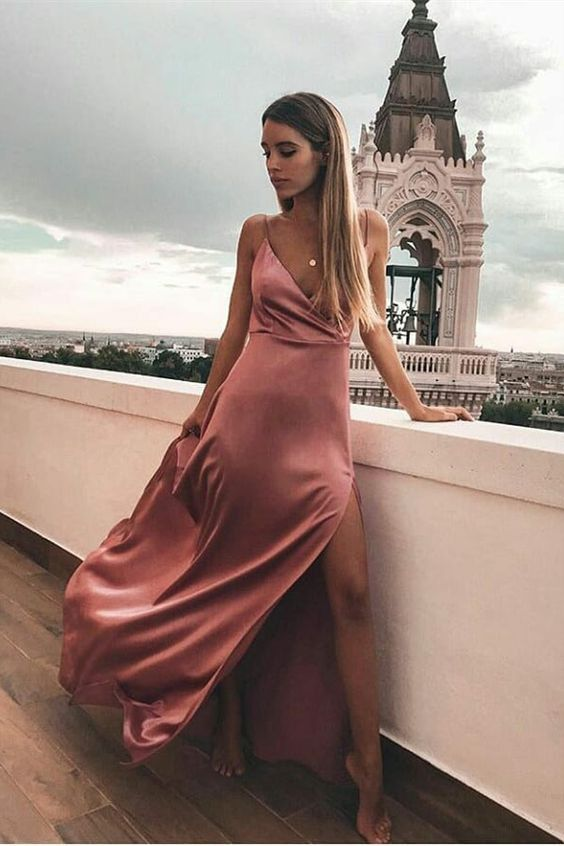 A-line V-neck Silk-like Satin Floor-length Split Front Prom Dresses in 2020 | Elegant dresses classy, Simple prom dress, Simple dresses