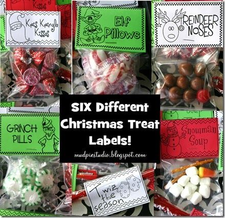 Kris Kringle Kisses = Hershey's chocolate kisses Grinch Pills = green peppermints (or green Tic Tacs, green M&Ms, etc.) Snowman Soup = marshmallows (snow), pretzel sticks (arms), chocolate chips (buttons & eyes) and a candy corn for the nose (or an orange Reese's Pieces candy would work, too) Reindeer Noses = 8 Whoppers and 1 cherry sour Elf Pillows = red/white peppermints Twiz the Season = Twizzler sticks