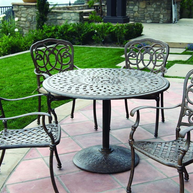 Darlee Florence 4-Person Cast Aluminum Patio Dining Set With Pedestal Table - Mocha available at Ultimate Patio. An excellent addition to...