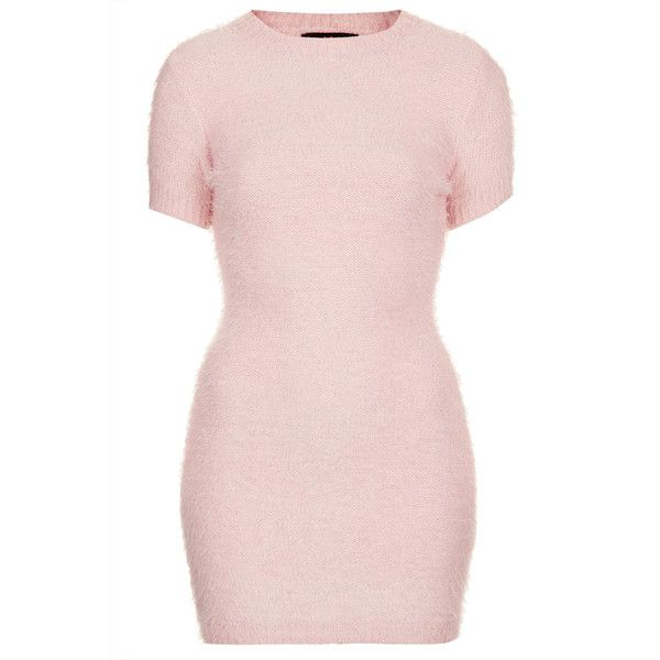 **Begonia Dress by Motel (£45) ❤ liked on Polyvore featuring dresses, pink, topshop, vestidos, short dresses, pink short sleeve dress, mini dress, motel dresses, pink dress and body con dresses