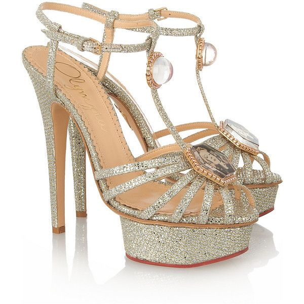 Charlotte Olympia Leading Lady glitter-finished sandals (£373) ❤ liked on Polyvore featuring shoes, sandals, heels, charlotte olympia, high heels, silver, high heel sandals, platform shoes, platform sandals and glitter sandals