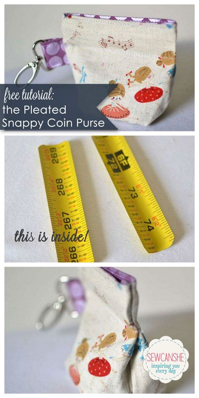 free tutorial... pleated snappy coin purse with tape measure pieces inside!