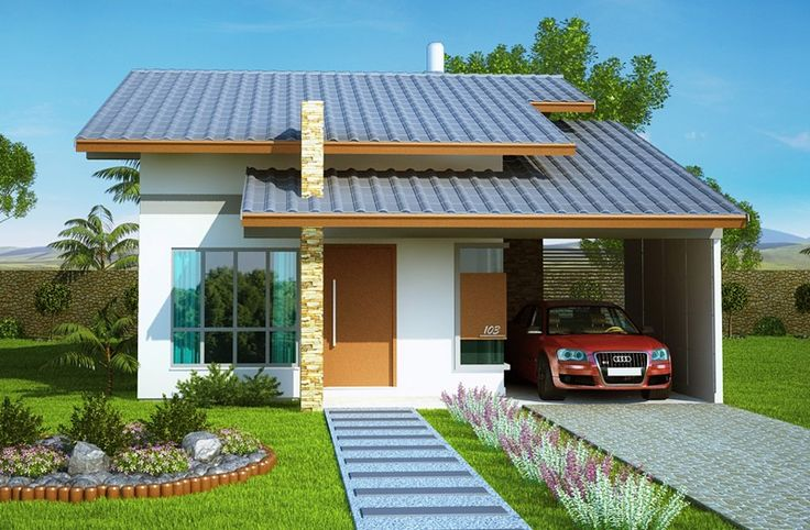 Casa Térrea com 2 quartos sendo 1 suite com closet e banheira. Plantas e projetos de casas prontas para inciar a construção. Veja outros modelos de casas.