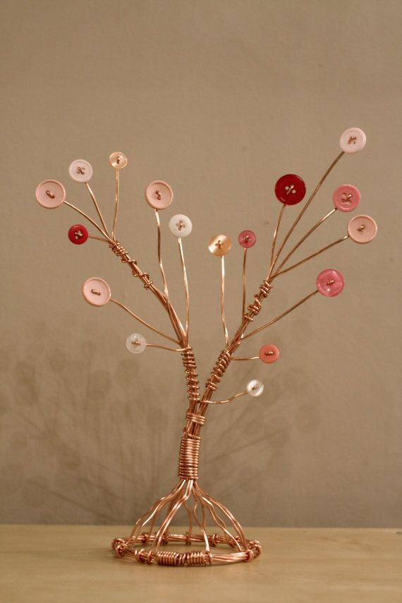 Copper Wire Tree with Pink Button Foliage by timkirman on Etsy, £15.00