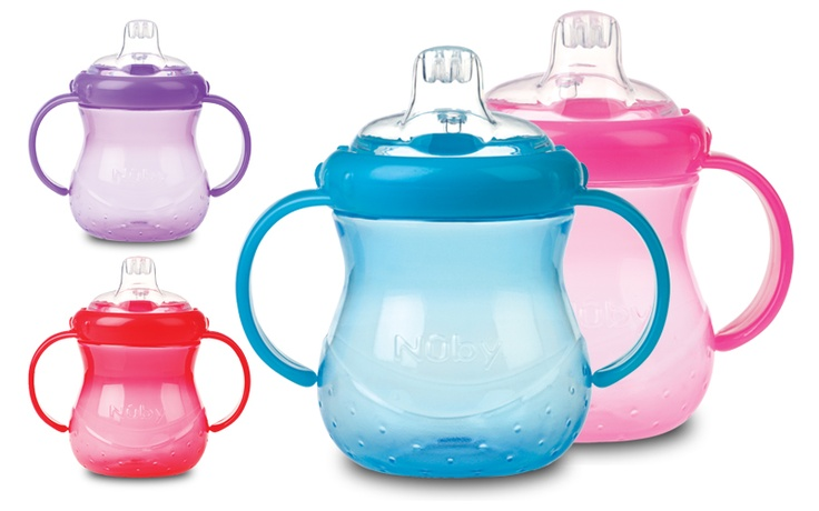 Nuby GripNSip Cup. Soft silicone no spill spout makes it perfect for first cup drinking. Available in a variety of bright, fun colours. www.nuby-uk.com