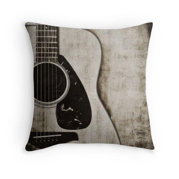 Guitar Photo Pillow Cover, Decorative Throw Pillow Cover, Guitarist Gift, Guitar Art , Music Room Decor, Black and White Musical Decor,
