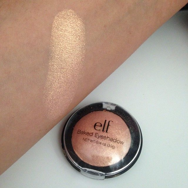 "Beautiful eyeshadow that doubles as a highlight! Baked eyeshadow in ""Enchanted"", only $3 from ELF Cosmetics!!"