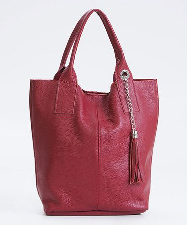 Red Embossed Tassel Leather Tote #zulilyfinds
