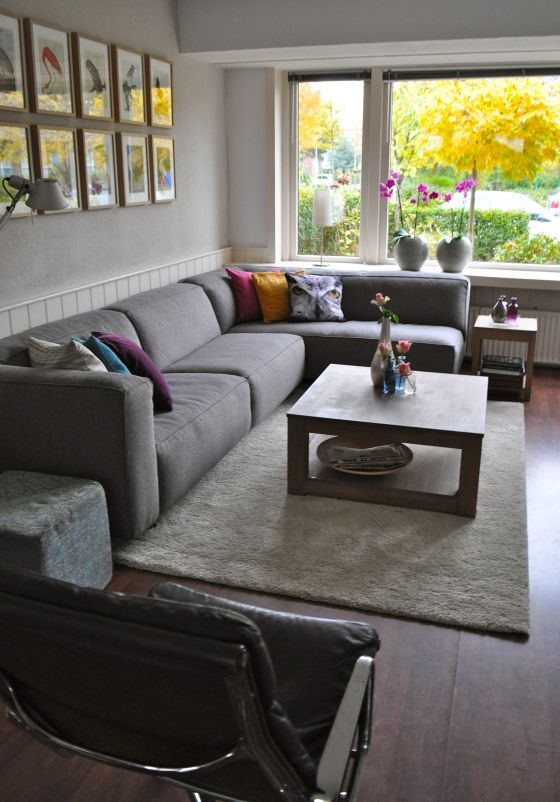 In love with the couch! Grey and L-shape = perfection.