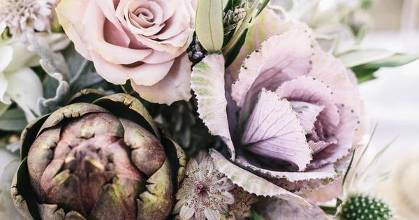 Pale purple centerpieces with artichokes and roses   Wedding flowers   Pinterest   Centrepieces and Flowers