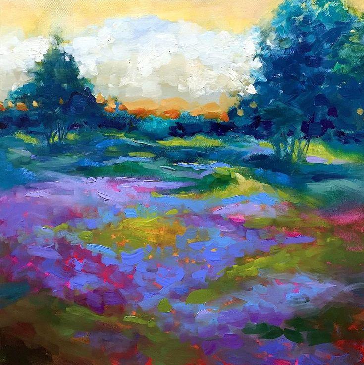 """""""Green Meadow Lavender Farm - kvetov a krajiny Obrazy Nancy Me"""" pôvodné Výtvarné umenie podľa Nancy Medina"""