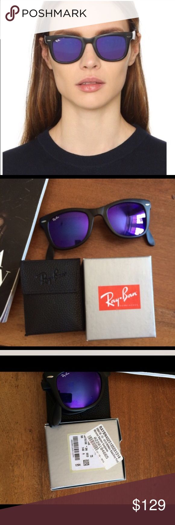 Ray ban wayfarer folding Limited edition Ray ban wayfarer authentic, folding Mat black frames with purple mirror lens. Use offer button for any offers . Ray-Ban Accessories Glasses