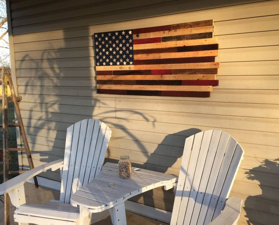Reclaimed pallet American flag wall art 42 long x 23 by Kustomwood