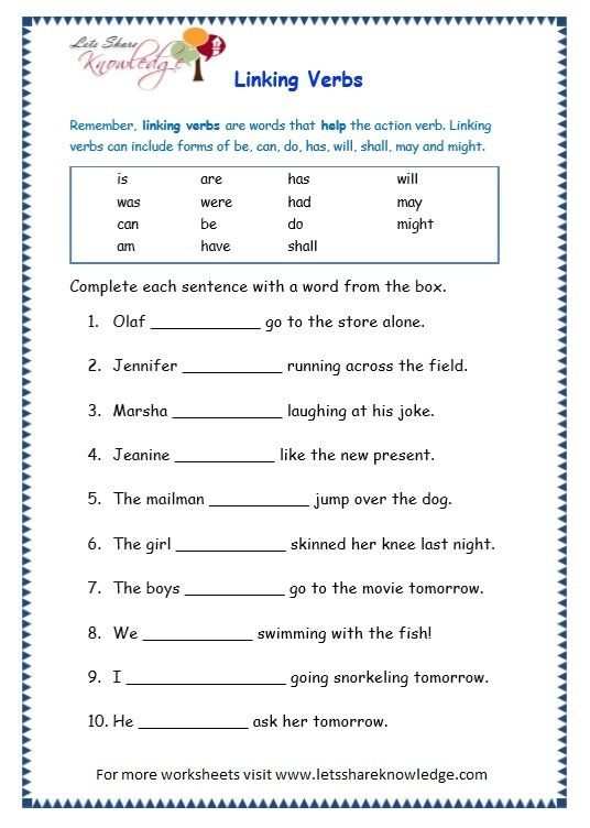 Grade 3 Grammar Topic 14: Helping Verbs Worksheets - Lets Share ...