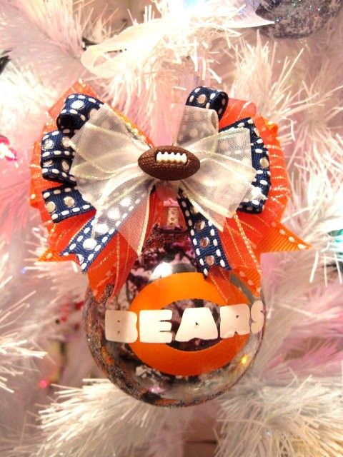 Chicago Bears Christmas ornament hand painted xmas ornament personalized via Etsy
