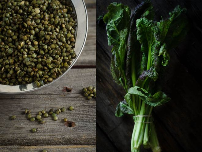 Green Lentils and Mustard Greens for Lentil Stew .. it's fall and soon will be winter and it's getting colder ... perfect time for this dish!