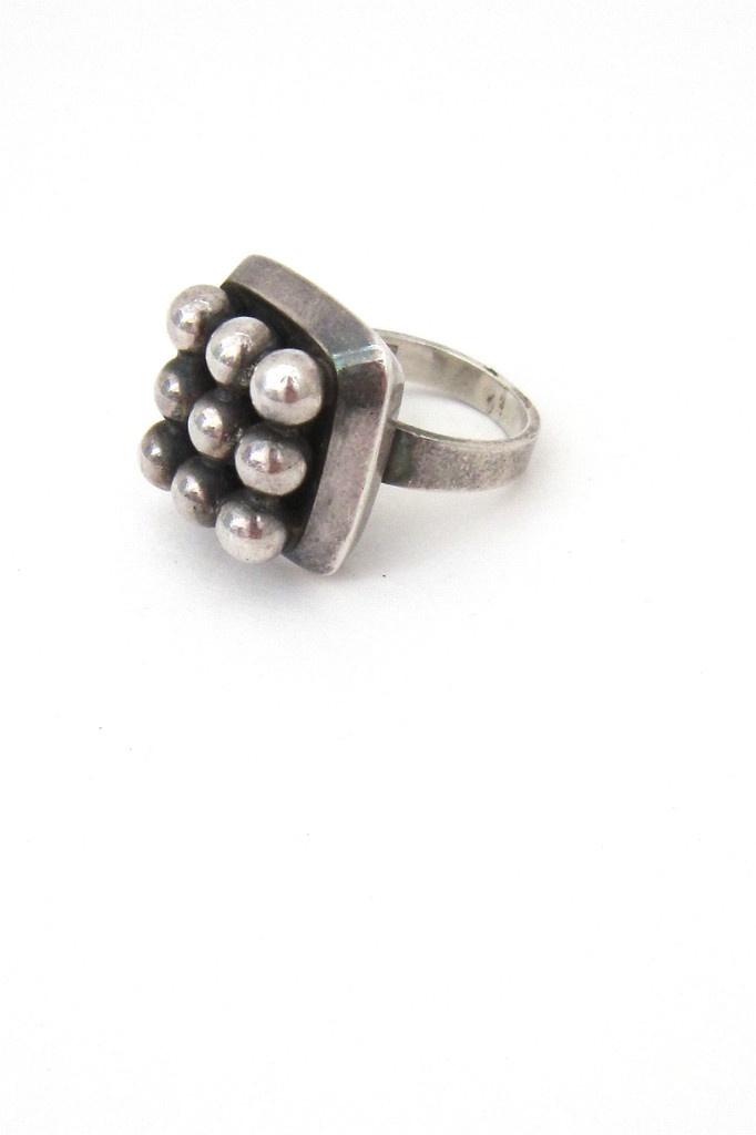 "Erik Granit, Finland - vintage sterling silver ""spheres squared"" ring"