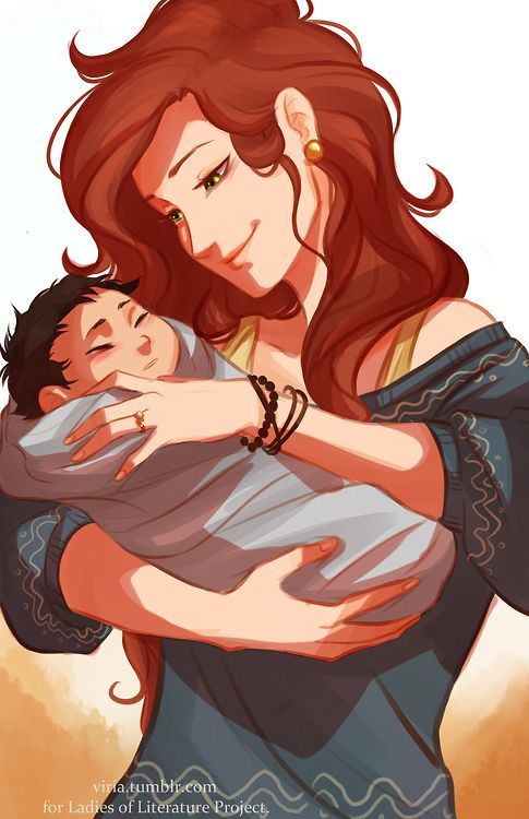 Young Sally holding baby Percy <- No. Lilly Potter holding little Harry. Viria draws HP too.