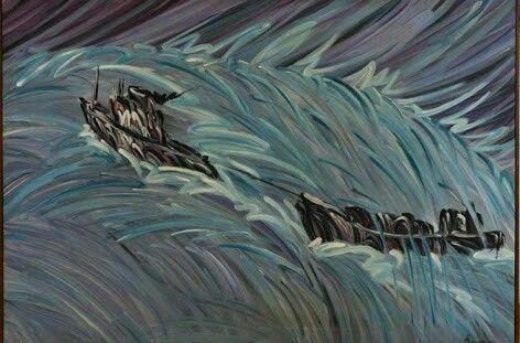 Ömer Uluç: Boğazda Gemiler. Tuval uzerine akrilik. 145×97 cm. Ozel kol.