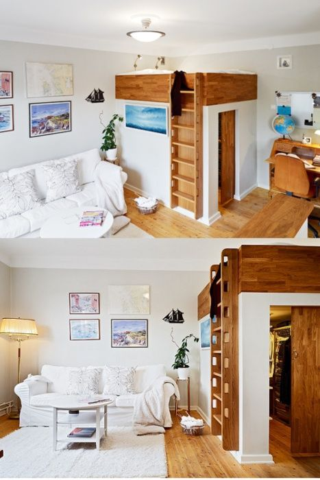 loft/closet small-space-solutions Love this idea for a sleeping loft with closet beneath.