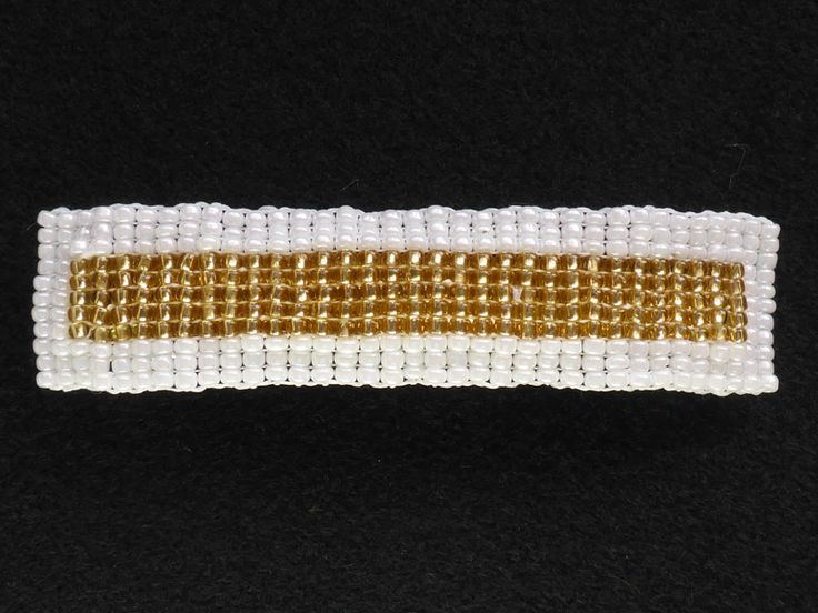 Liz Arnold Loom woven glass seed bead panel stitched onto 80mm barrette clip.