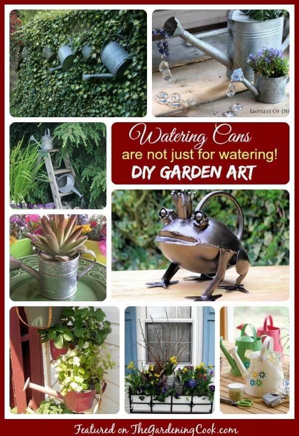 Watering Can garden art and planters add the perfect decorative touch to any garden #wateringcanplanters #gardenart