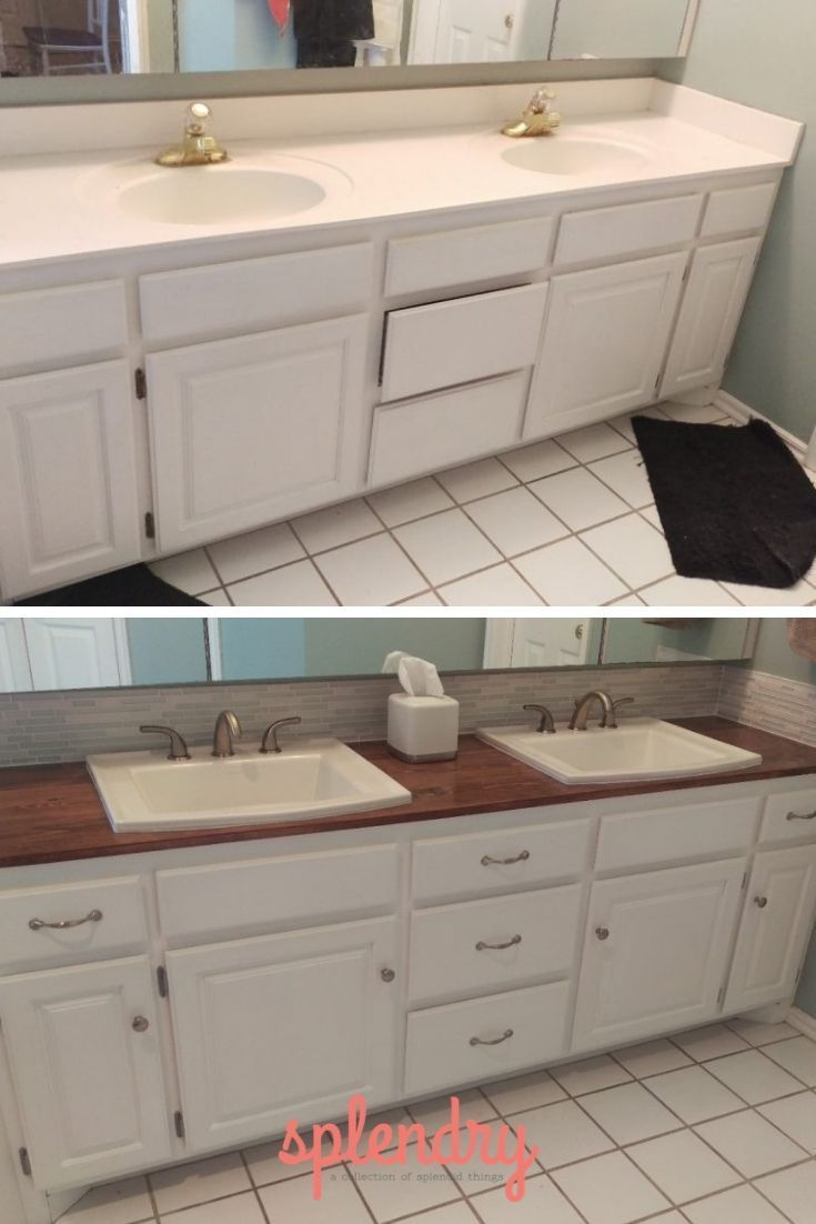 Before And After This Boring Bathroom Got A Huge Makeover See The Step By Step Instructions O Wooden Bathroom Countertop Bathroom Vanity Makeover Countertops