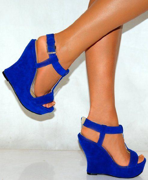 Ladies Womens Bright Cobalt Blue Faux Suede Wedged Wedges