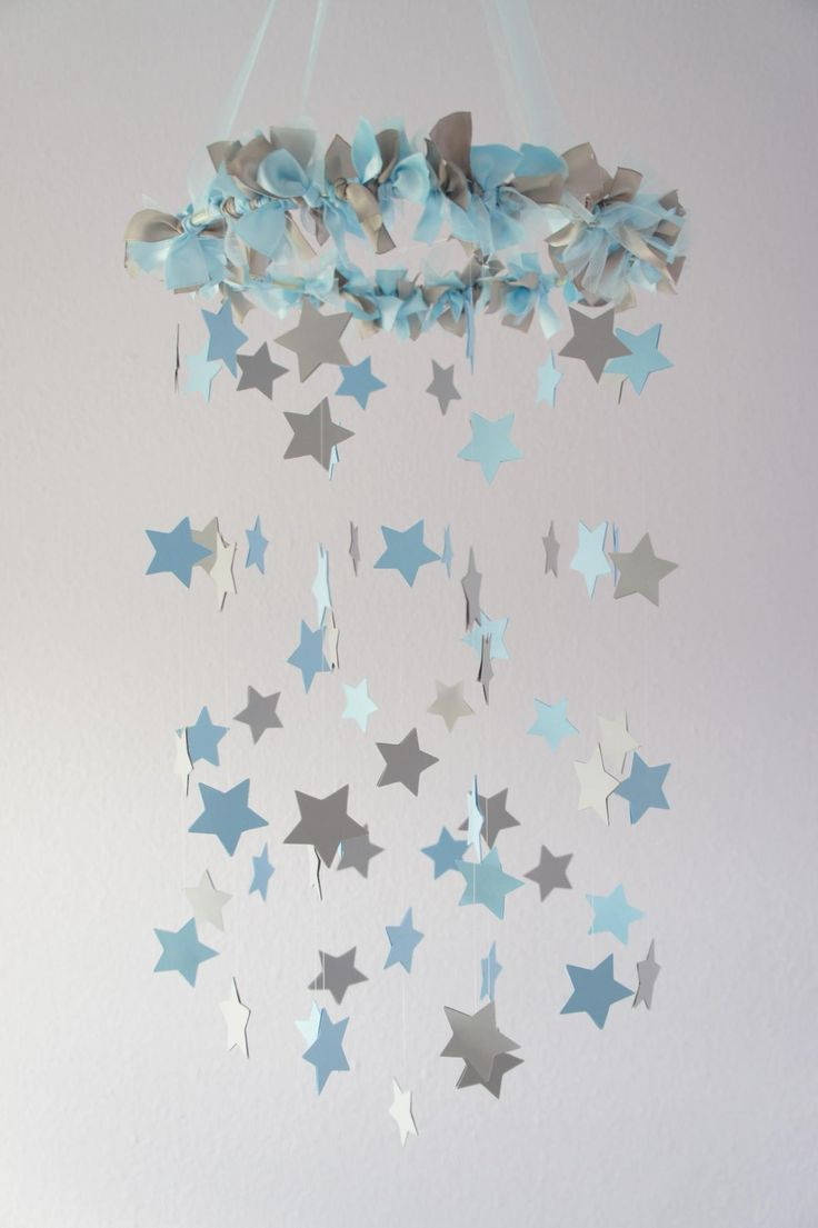 Boy Nursery Decor - Nursery Mobile Stars in Baby Blue & Gray (Would be just as sweet in pink and gray!!)