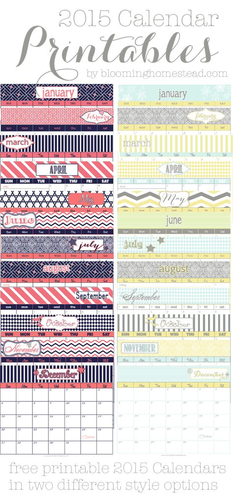 Check out these free printable 2015 calendars. Two designs to choose from to help keep your organized.