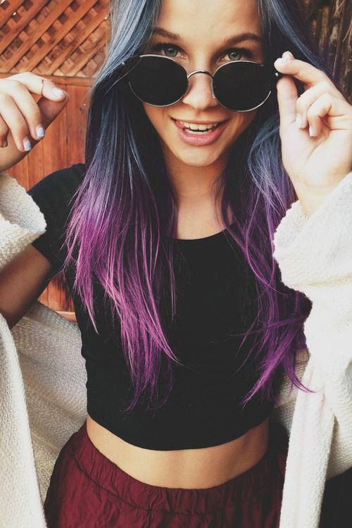 double dye hair, grey and purple