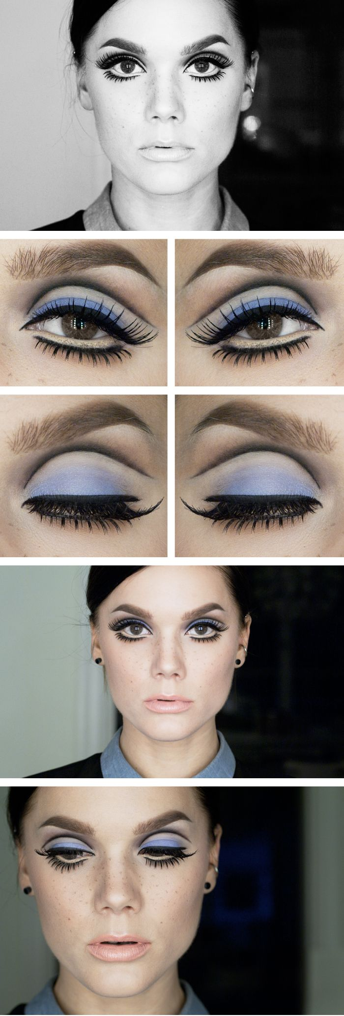 RETRO 60'S STYLE MAKE-UP. Lower lashes are coated with white or gold mascara to blend with the extra large faux waterline, thereby making the false lower lashes truly pop.