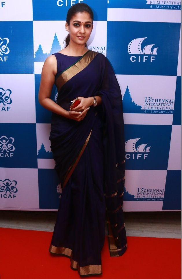 Nayantara Latest Stills In Very Hot Blue Saree - Tollywood Stars