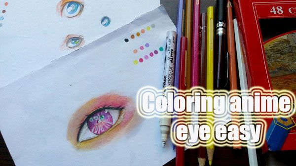 Mewarnai mata anime dengan pensil warna SIMPEL !!! | MAYAGAMI
