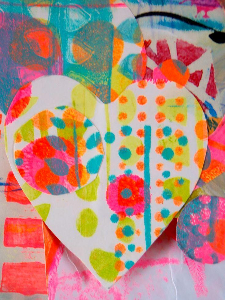 kids art activity:  Monoprinted pieces by Art HC