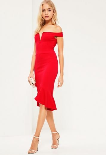 Look fierce wearing red in this beaut' midi dress - featuring a bardot top and frill hem.