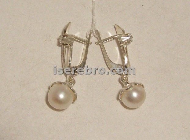 Серебряные серьги со вставкой из жемчуга - 234 жемчуг вес 4,47 серьги